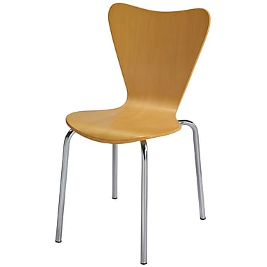 KFI Seating Wood Contemporary Stack Chair With Stain Finish, Natural