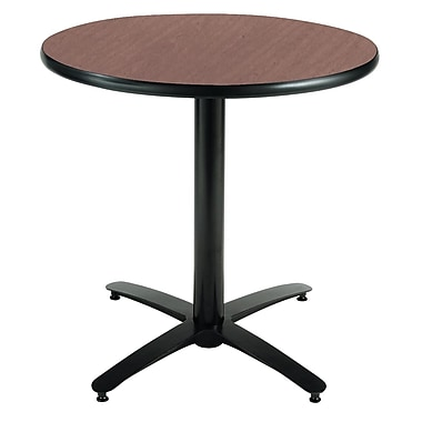 KFI Seating 29in. x 36in. Round HPL Pedestal Table With Arched Base, Mahogany