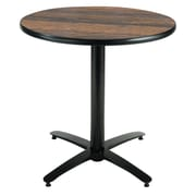 KFI Seating 29 x 30 Round HPL Pedestal Table With Black Arched Base, Walnut