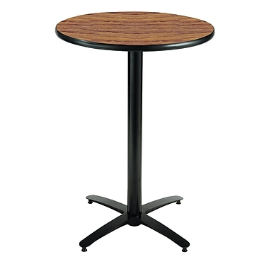KFI Seating 38in. x 30in. Round HPL Pedestal Table With Black Arched Base, Medium Oak