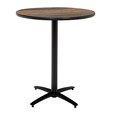 KFI Seating 38in. x 42in. Round HPL Pedestal Table With Arched Base, Walnut