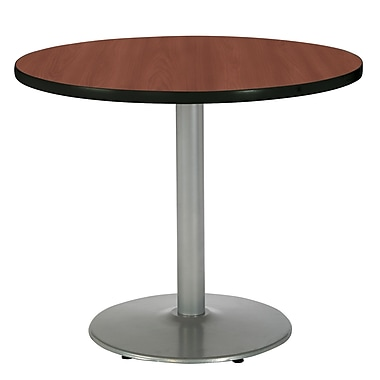 KFI Seating 29in. x 36in. Round HPL Pedestal Table With Silver Base, Mahogany