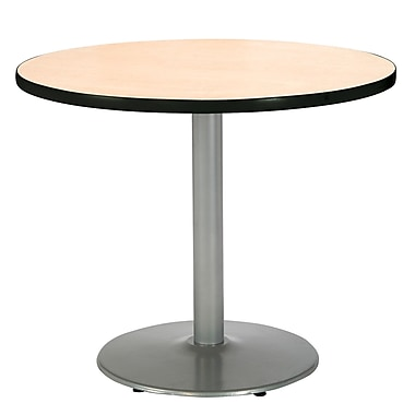 KFI Seating 29in. x 36in. Round HPL Pedestal Table With Silver Base, Natural