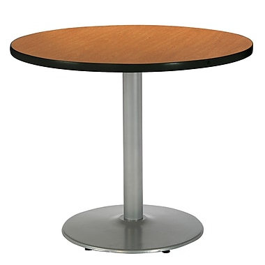 KFI Seating 29in. x 36in. Round HPL Pedestal Table With Silver Base, Medium Oak