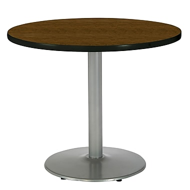 KFI Seating 29in. x 36in. Round HPL Pedestal Table With Silver Base, Walnut