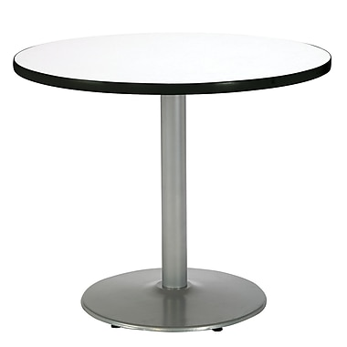 KFI Seating 29in. x 36in. Round HPL Pedestal Table With Silver Base, Crisp Linen