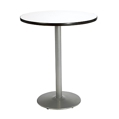 KFI Seating 29in. x 42in. Round HPL Pedestal Tables With Silver Base