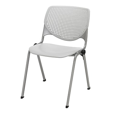 KFI Seating Polypropylene Stack Chair With Perforated Back, Light Gray