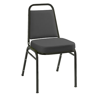 KFI Seating Fabric Low Back Stack Chair With Black Frame, Black