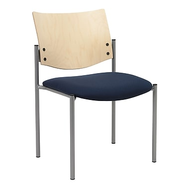 KFI Seating Fabric Armless Guest/Reception Chair With Natural Wood Back, Blue Confetti