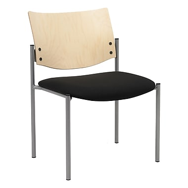 KFI Seating Fabric Armless Guest/Reception Chair With Natural Wood Back, Black