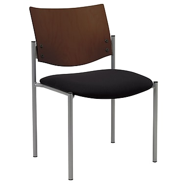 KFI Seating Fabric Armless Guest/Reception Chair With Chocolate Wood Back, Black