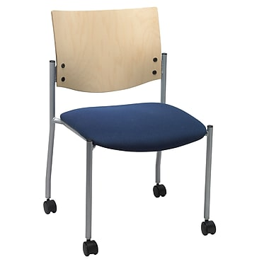 KFI Seating Fabric Armless Guest/Reception Chair Natural Wood Back and Casters, Blue Confetti