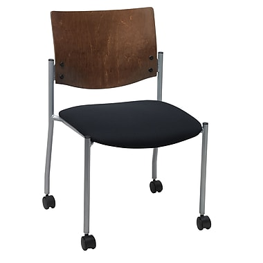 KFI Seating Fabric Armless Guest/Reception Chair With Chocolate Wood Back and Casters, Black