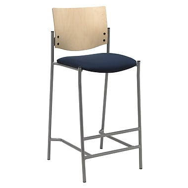 KFI Seating Fabric Barstool With Natural Wood Back, Navy
