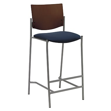 KFI Seating Fabric Barstool With Chocolate Wood Back, Navy