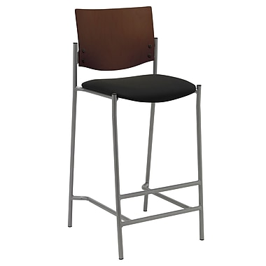 KFI Seating Fabric Barstool With Chocolate Wood Back, Black