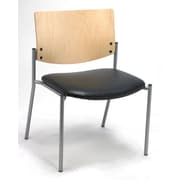 KFI Seating Vinyl Armless Side/Guest Chair With Natural Wood Back, Black