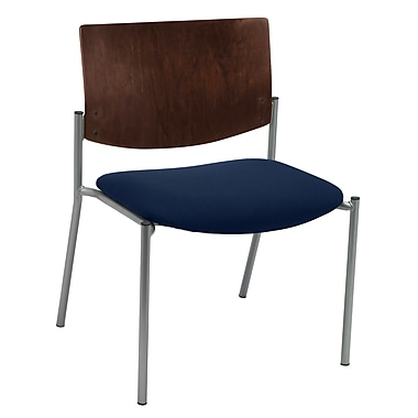 KFI Seating Fabric Armless Side/Guest Chair With Chocolate Wood Back, Navy