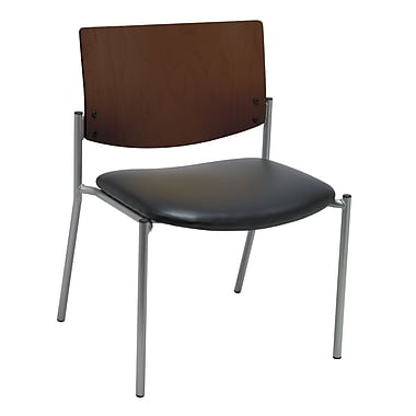 KFI Seating Vinyl Armless Side/Guest Chair With Chocolate Wood Back, Black