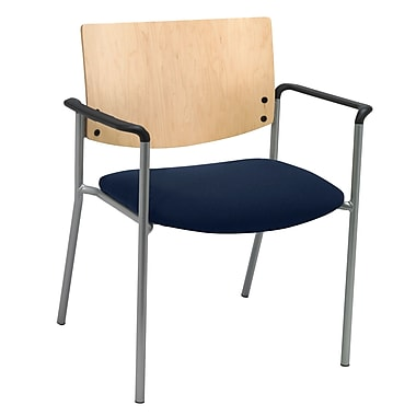 KFI Seating Fabric Arms Side/Guest Chair With Natural Wood Back, Navy