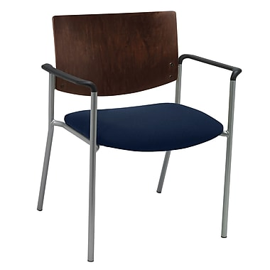 KFI Seating Fabric Arms Side/Guest Chair With Chocolate Wood Back, Navy