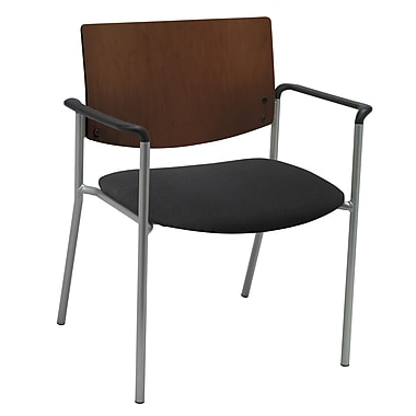 KFI Seating Fabric Arms Side/Guest Chair With Chocolate Wood Back, Black
