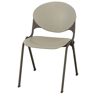 KFI Seating Polypropylene Stack Chair With Black Frame, Cool Gray