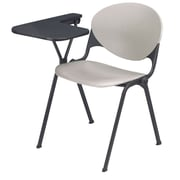 KFI Seating Polypropylene Chair With Right Hand P-Shaped Writing Tablet, Gray
