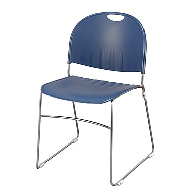 KFI Seating Polypropylene Sled Base Stack Chair, Navy