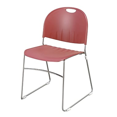 KFI Seating Polypropylene Sled Base Stack Chair, Burgundy