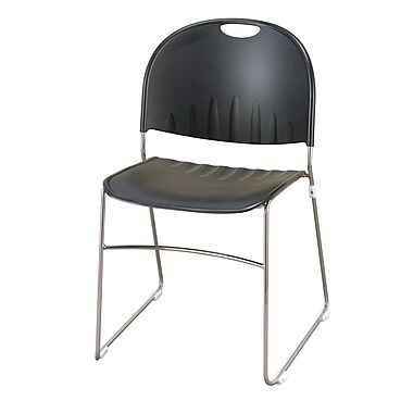 KFI Seating Polypropylene Sled Base Stack Chair, Black