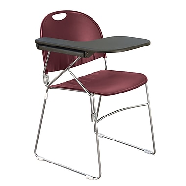KFI Seating Polypropylene Sled Base Chair With Left Hand P-Shaped Writing Tablet, Burgundy