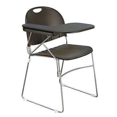 KFI Seating Polypropylene Sled Base Chair With Left Hand P-Shaped Writing Tablet, Black