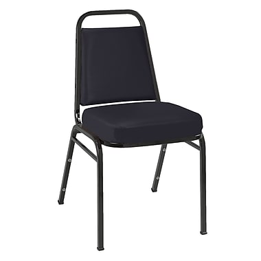 KFI Seating Vinyl Stack Chair With Black Frame, Black