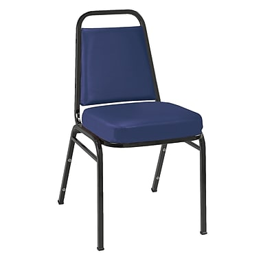 KFI Seating Vinyl Stack Chair With Black Frame, Navy