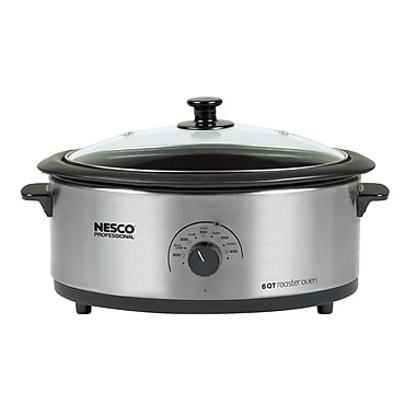 Nesco® Professional 6 Quart Porcelain Cookwell Roaster Oven With Glass Cover, Stainless Steel
