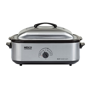 Nesco® Professional 18 Quart Porcelain Cookwell Roaster Oven, Stainless Steel