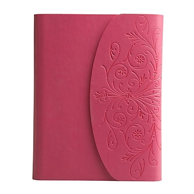Eccolo™ Italian Faux Leather Metallic Flap Journal, Pink