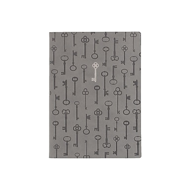 Eccolo™ Faux Leather Allover Keys Stamped Journal, Gray