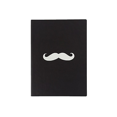 Eccolo™ Faux Leather Stamped Mustache Journal, Black