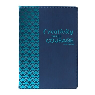 Eccolo™ Faux Leather Creativity Takes Courage Journal, Blue