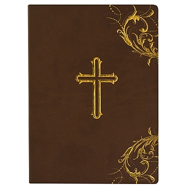 Eccolo™ Italian Faux Leather Brn Holy Cross Journal, Dark Brown