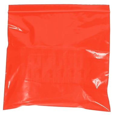 BOX 10in. x 12in. x 2 mil Reclosable Poly Bags, Red, 1000/Case