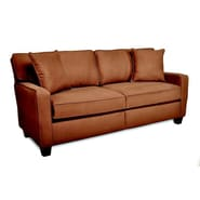 Sofab® Coco Style Solid Wood/Fabric Sofa, Chocolate