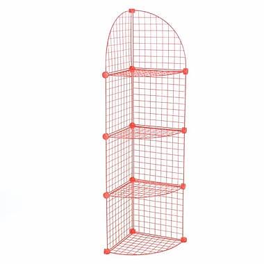 Mini Grid Corner Unit, 4 Shelves, Red