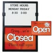 Open/Closed Sign W/ Message Board, Vertical, Black