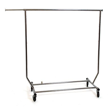 Salesman Rolling Rack, Collapsible, Round Tubing, Chrome