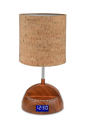 LighTunes Bluetooth Wood Grain Speaker Lamp With Alarm Clock/FM Radio/USB Charging Port 285116