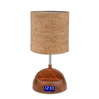 LighTunes™ Bluetooth Wood Grain Speaker Lamp With Alarm Clock/FM Radio/USB Charging Port